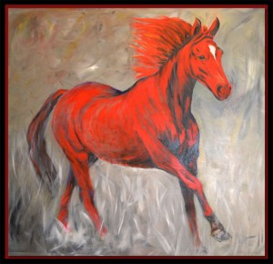 'Fiery Stallion' - acrylic on canvas by Thomas Adamski